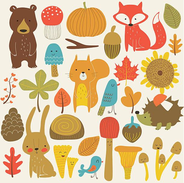 bildbanksillustrationer, clip art samt tecknat material och ikoner med autumnanimalset - children autumn