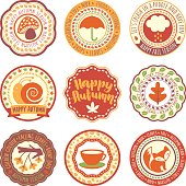 Vector circular labels and seals on Autumn theme