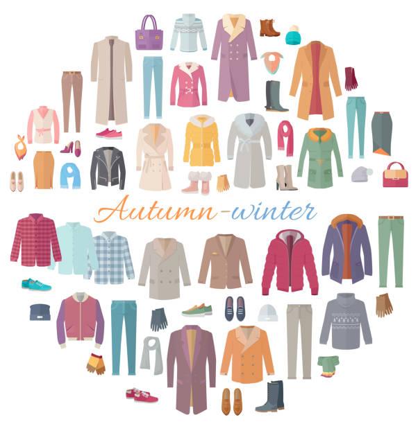 ilustraciones, imágenes clip art, dibujos animados e iconos de stock de ilustración de colección de ropa otoño-invierno - moda de otoño