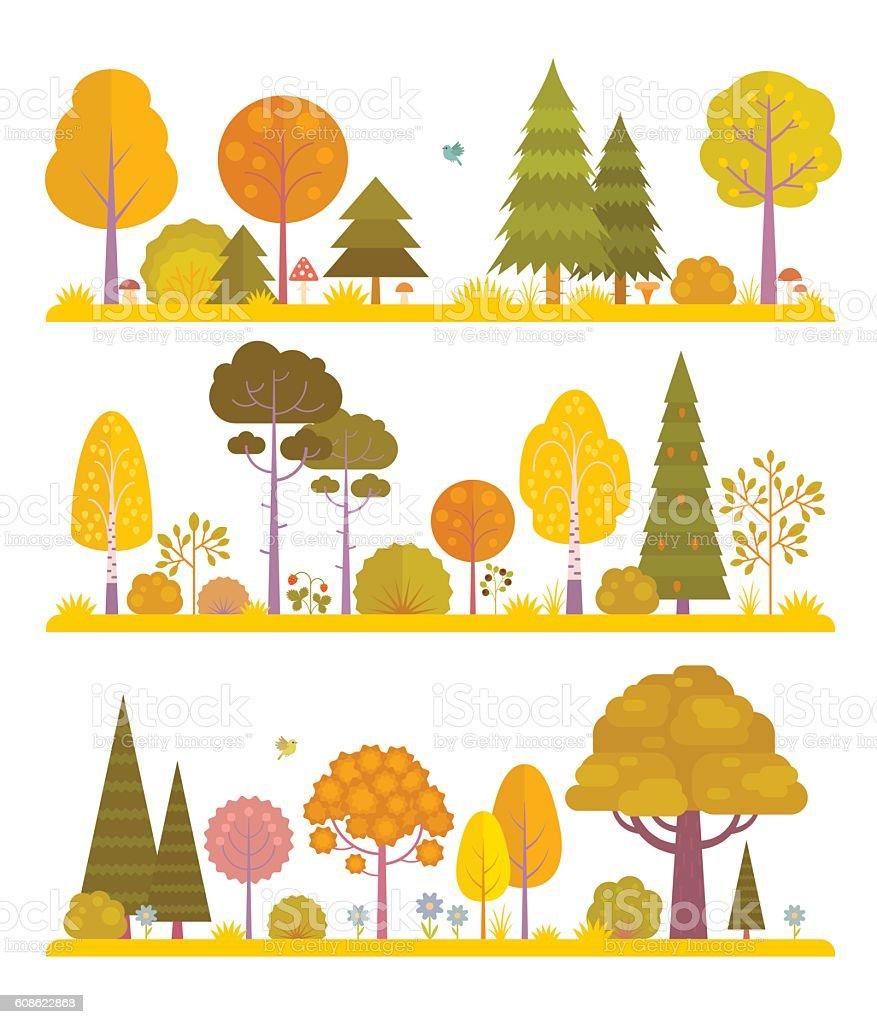 Aututmn forest vector art illustration
