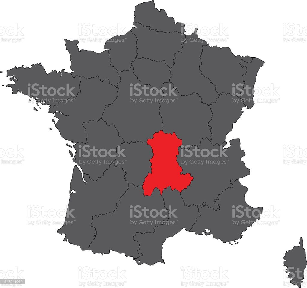 Auvergne red on gray France map vector vector art illustration