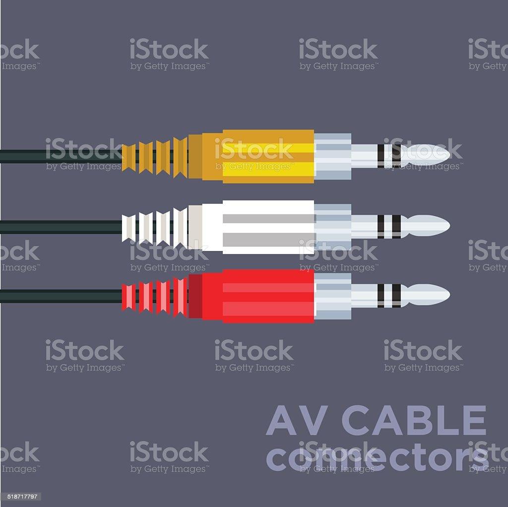 av cable connectors - vector vector art illustration