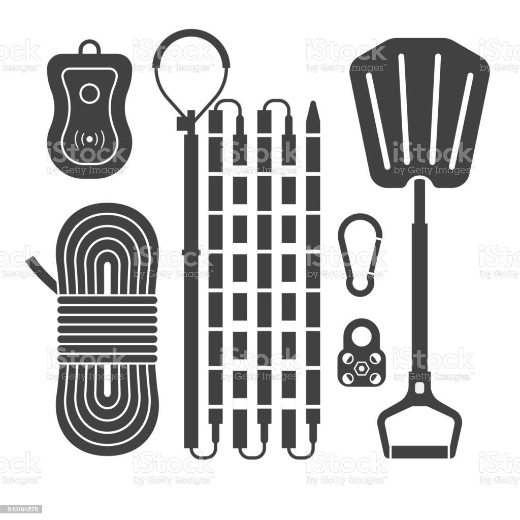 Avalanch Rescue Kit Outline Icons vector art illustration