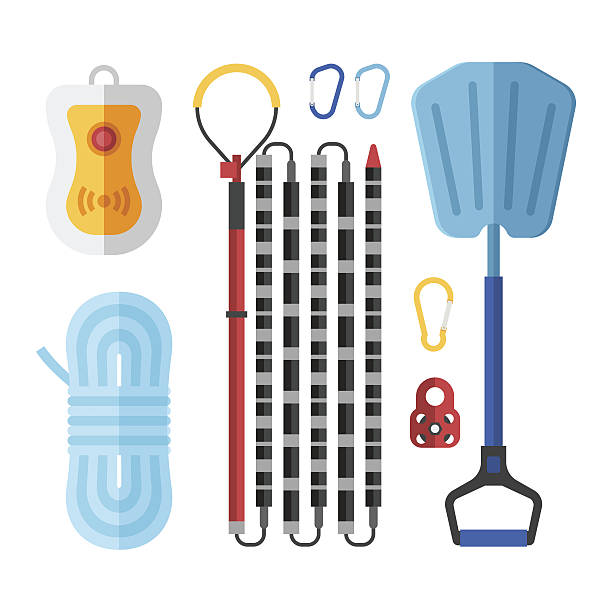 Avalanch Rescue Kit Avalanch rescue kit with probe, snow shovel, rope, beeper and carabiners.  Alpinism protective equipment vector set. avalanche stock illustrations