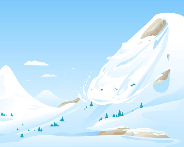 Avalanche in Mountains Snow avalanche slides down in high mountain, natural hazard illustration background, danger in mountains concept avalanche stock illustrations
