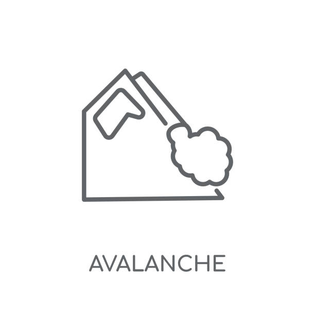 Avalanche linear icon. Modern outline Avalanche logo concept on white background from Winter collection Avalanche linear icon. Modern outline Avalanche logo concept on white background from Winter collection. Suitable for use on web apps, mobile apps and print media. avalanche stock illustrations
