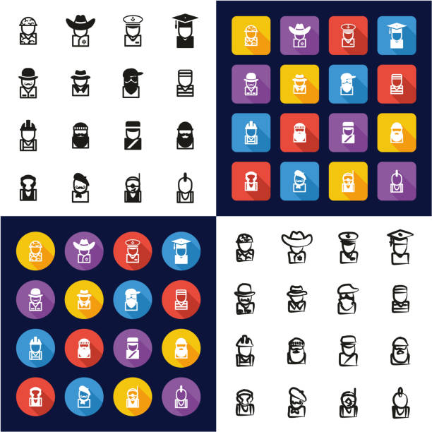 avatar all in one icons black & white color flat design freehand set 2 - old man mask stock illustrations