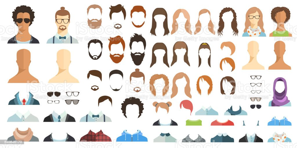 Avatar constructor. Haircuts, glasses, clothes. vector art illustration