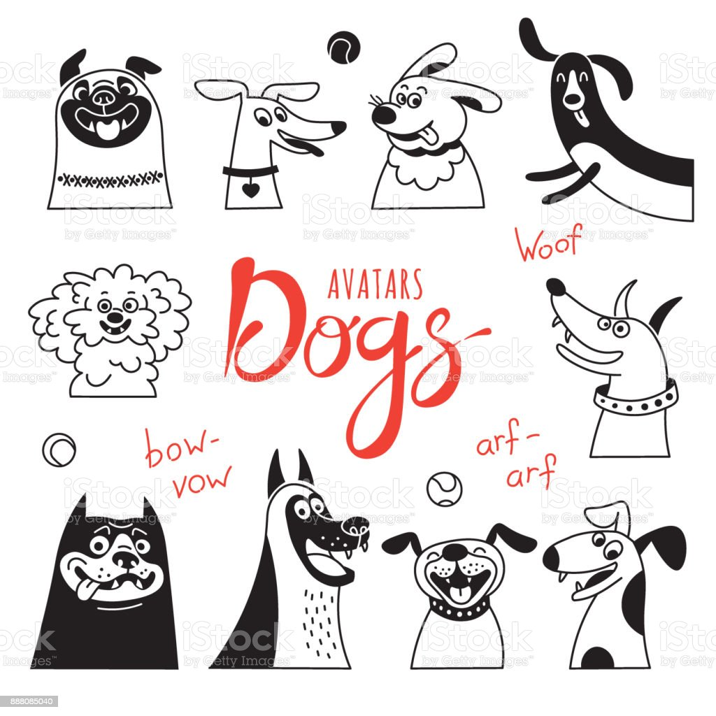 Avatar dogs. Funny lap-dog, happy pug, cheerful mongrels and other breeds vector art illustration