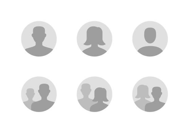 阿凡達平面圖標集。預設匿名使用者縱向向量插圖。男子標誌,女人無臉的個人資料圖片。灰色圓形網站預留位置 - 女性 幅插畫檔、美工圖案、卡通及圖標