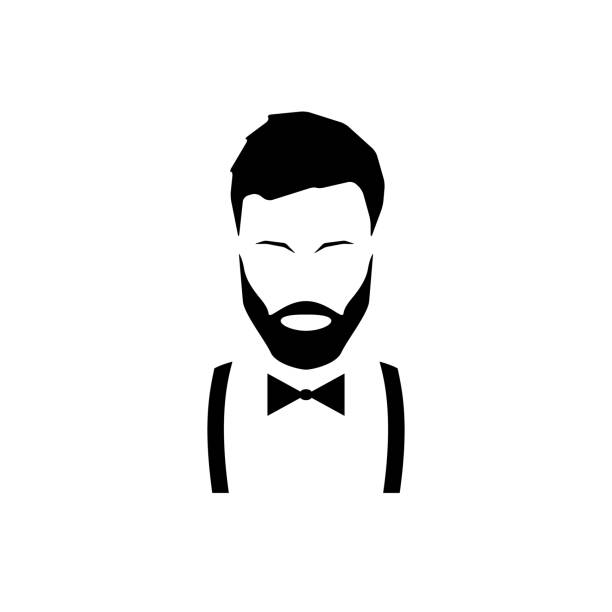 Avatar hipster with a beard in suspenders and a bow tie. Vector illustration. vector art illustration