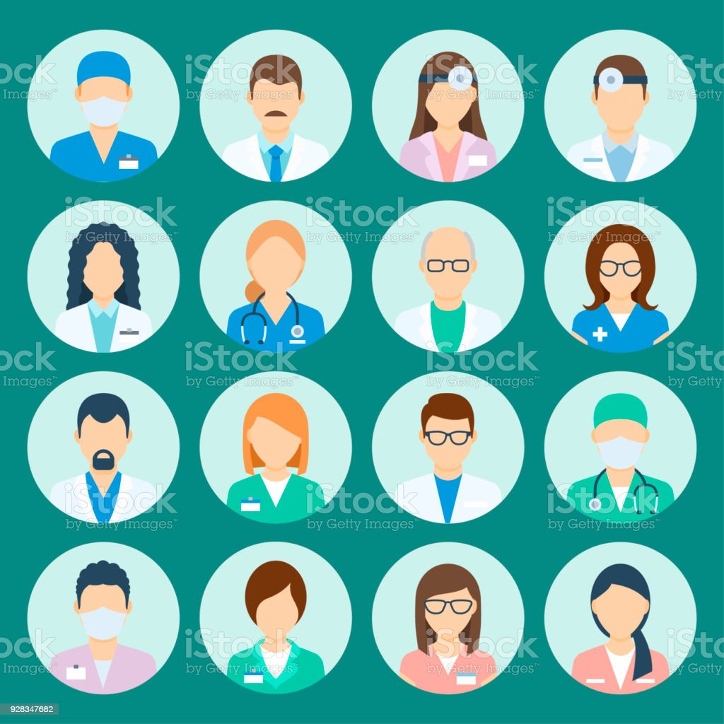 Personnel de l'hôpital de avatar - Illustration vectorielle