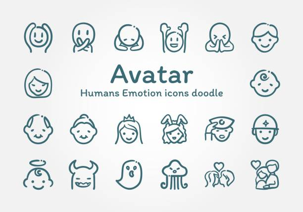 avatar humans emotion icons doodle - kiss stock illustrations