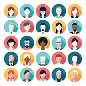 A set of 25 people icon set. Each icon is grouped individually.