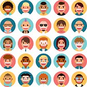 A set of 25 cute male people icon set. Each icon is grouped individually.