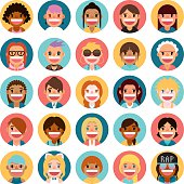A set of 25 cute female people icon set. Each icon is grouped individually.