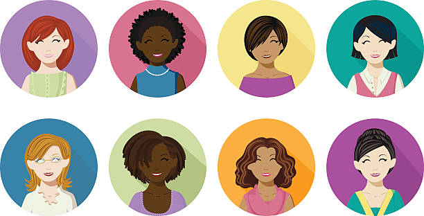 Avatar Icons of Women vector art illustration