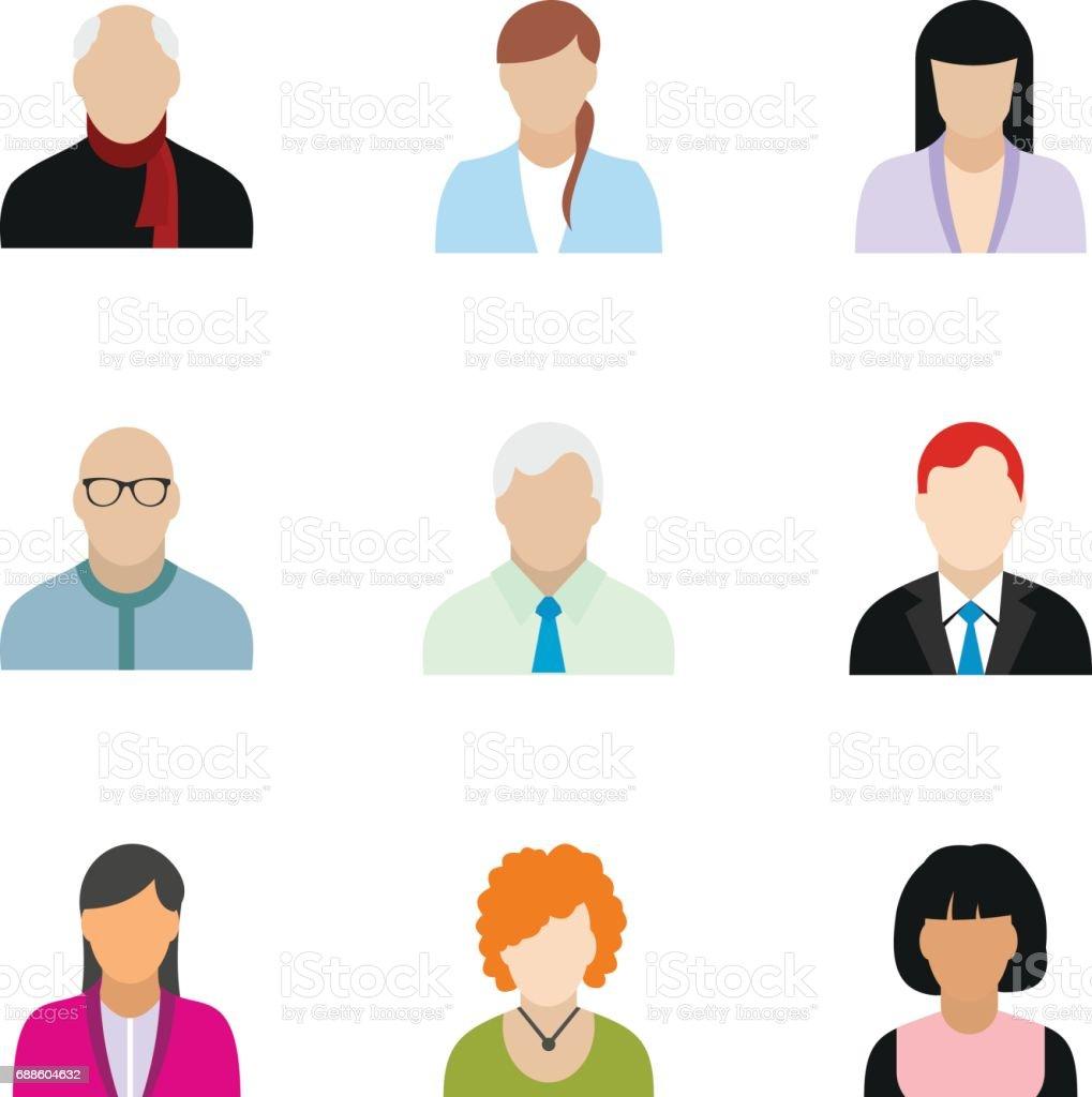 Avatar icons set, flat style vector art illustration