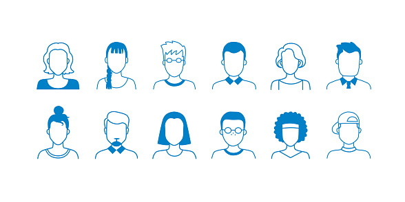 Avatar line icons. Hand drawn interface user symbols, doodle people of different ages, teens adult and old. Vector cartoon portraits
