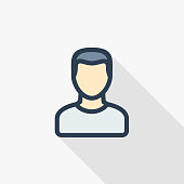 Avatar, man thin line flat icon. Linear vector symbol colorful long shadow design.