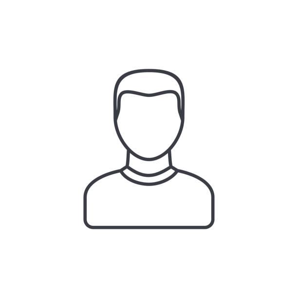 bildbanksillustrationer, clip art samt tecknat material och ikoner med avatar, man tunn linje-ikonen. linjär vektor symbol - profile photo