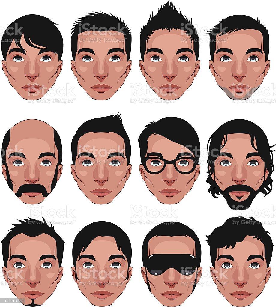 Avatar, men's portraits. vector art illustration