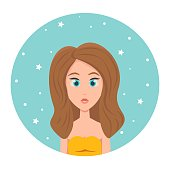 istock Avatar of a red-haired girl with long hair and big blue eyes, vector illustration in flat style. 1311238774