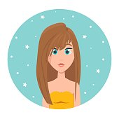 istock Avatar of a red-haired girl with long hair and big blue eyes, vector illustration in flat style. 1311238798