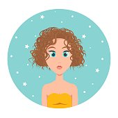 istock Avatar of a red-haired girl with short hair square haircut and big blue eyes, vector illustration in flat style. 1311238779