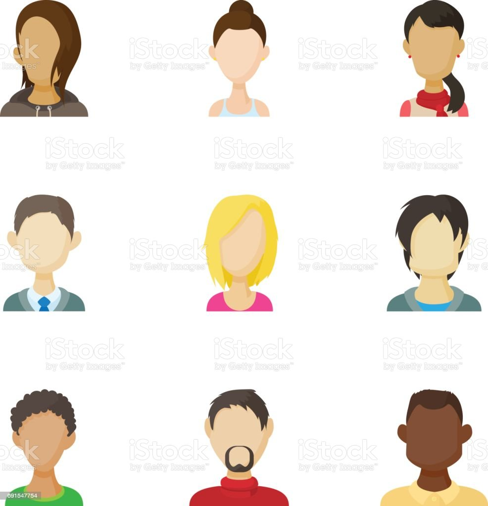 Avatar of different people icons set vector art illustration