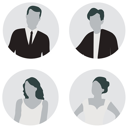 Avatar of man. Set of avatars of men and women in gray isolated on white background. Vector illustration. Vector.
