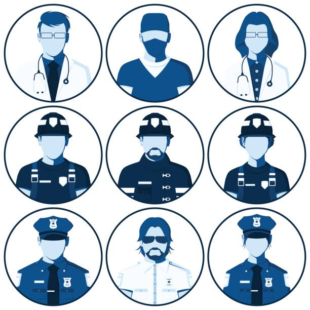 Avatar Of People Emergency Services Vector Art Illustration