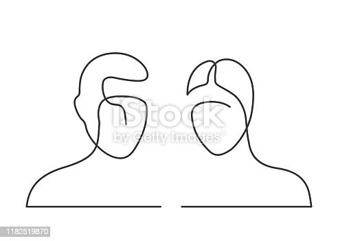 Continuous line drawing of man and woman heads on white background. Vector illustration