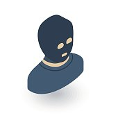 Avatar outlaw man, terrorist in balaclava mask isometric flat icon. 3d vector colorful illustration. Pictogram isolated on white background