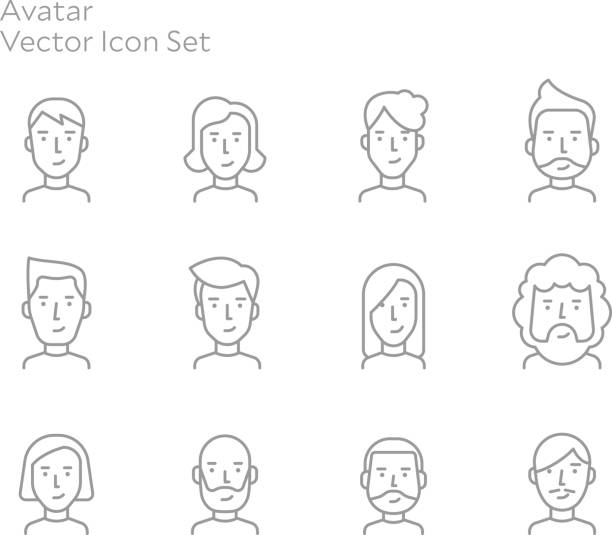 Avatar People Vector Line Icon Set vector art illustration
