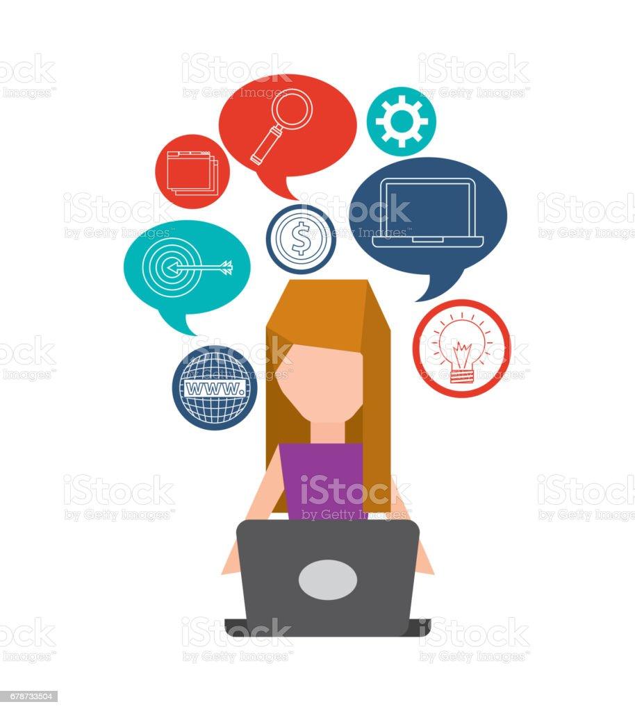 ordinateur de l'utilisateur avatar personne ordinateur de lutilisateur avatar personne – cliparts vectoriels et plus d'images de affaires libre de droits