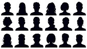 istock Avatar portrait silhouettes. Woman and man faces portraits, anonymous characters avatars. Adult people head silhouettes vector illustration set 1297455018