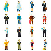 Avatar professions flat avatars set with fireman pilot worker doctor isolated vector illustration