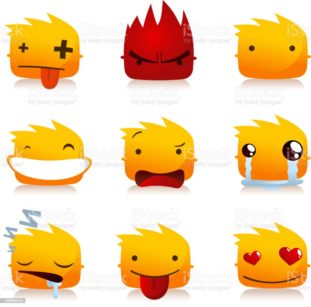 Avatar Profile Avatars Fire Flame Smileys with Head People collection royalty-free stock vector art