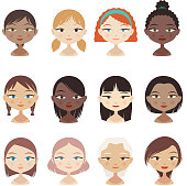 Head and Shoulder People Avatar Profile Character Set Girl Faces, with 12 twelve different head and shoulder profile avatars with different hairstyle and ethnics vector illustration.