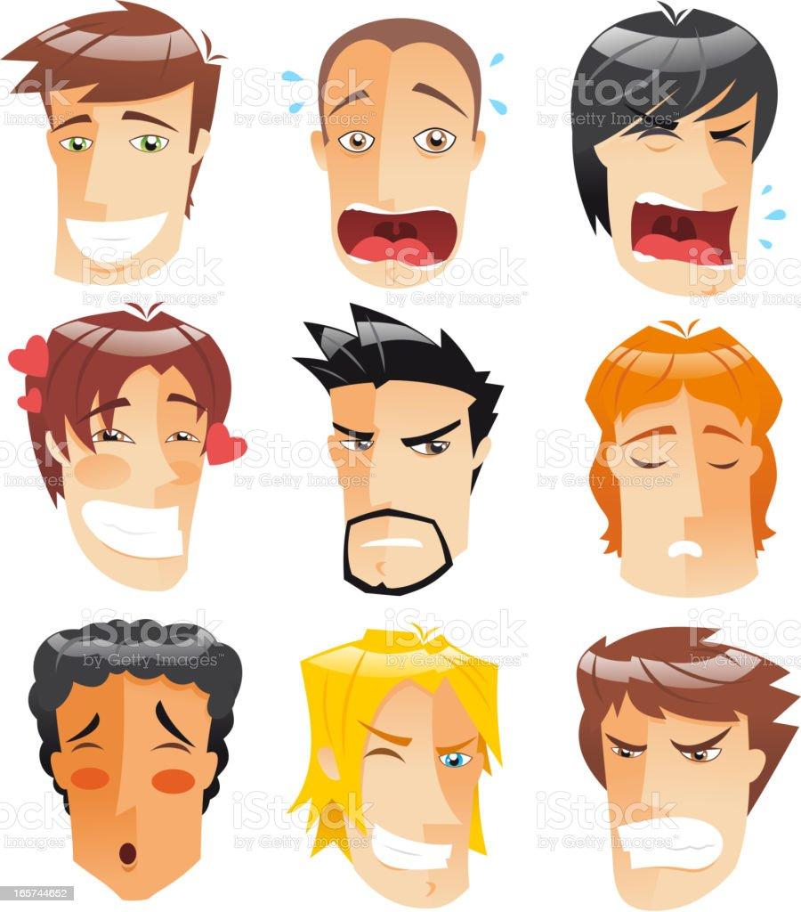 Avatar Profile Avatars Human Head People Front View Men faces vector art illustration