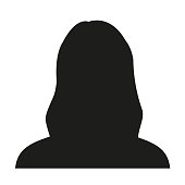 Avatar profile. Female face silhouette or icon isolated on white background. Vector illustration.