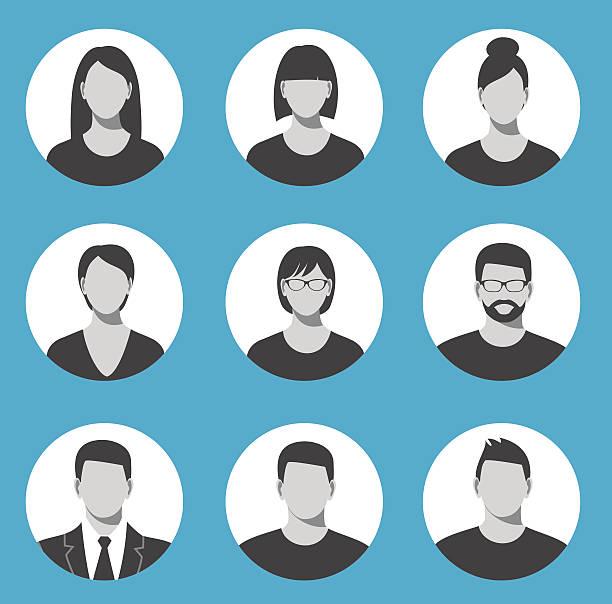 avatar profil symbol-set darunter männliche und weibliche mitarbeiter. - bildkomposition und technik stock-grafiken, -clipart, -cartoons und -symbole