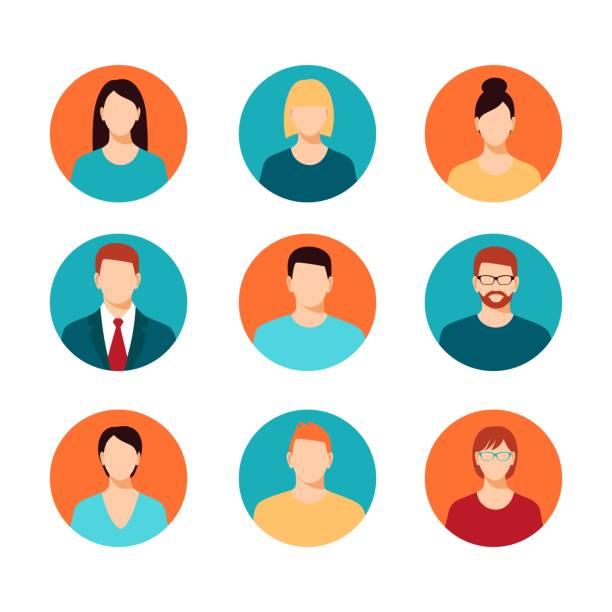 ilustraciones, imágenes clip art, dibujos animados e iconos de stock de conjunto de iconos de perfil de avatar - person on computer