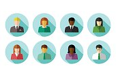 Avatar set of multiracial business people