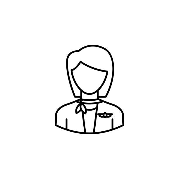 stockillustraties, clipart, cartoons en iconen met avatar stewardess overzicht icoon. tekenen en symbolen kunnen worden gebruikt voor web-logo mobiele app ui ux - stewardess