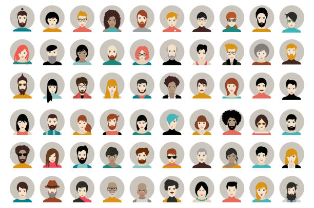 avatar, woman, man heads. people vector shape heads different nationality - portrait stock illustrations