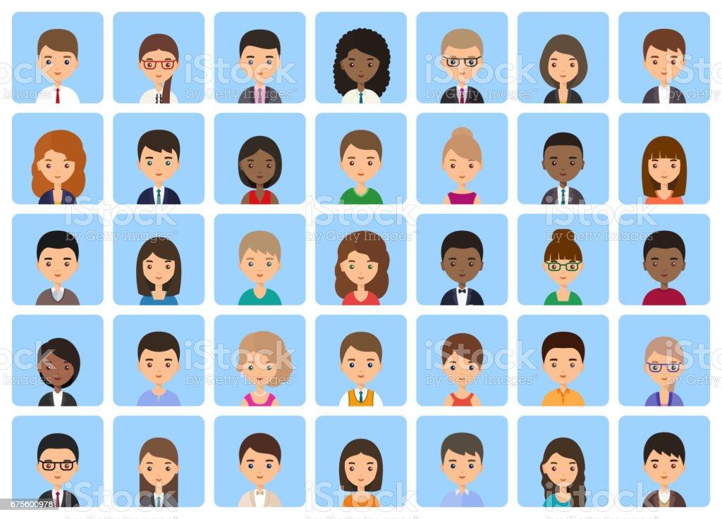 Avatars cartoon characters in flat design. Vector illustration. vector art illustration