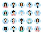 Avatars characters doctors and nurses set. Medical people icons of faces on a blue background.