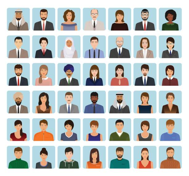 avatars characters set of different people. business, elegant and sports icons of faces to your profile. - business casual fashion stock illustrations